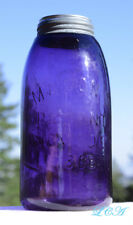 GIGANTIC Deep Purple HALF GALLON antique MASON 1858 PATENT fruit jar OLD - CRUDE