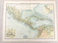 1898 Map of The West Indies Mexico Central America Bartholomew Antique Original
