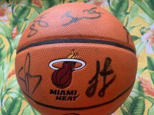 Lebron James 2012-2013 Miami Heat Autographed Team Signed Basketball D Wade COA
