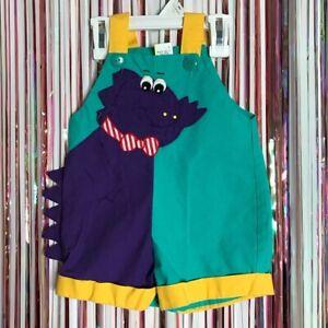 Vintage 80s 90s Baby Togs Unisex Colorblock Dinosaur Monster shortalls 12 months
