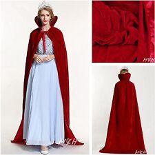 "71"" Full Length Velvet Satin Cloak High Collar Cape Parade Pageant Costume - Red"