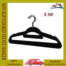 100 X BLACK NON SLIP HANGER VELVET FLOCKED COAT CLOTH TROUSER HANGING HANGER NEW