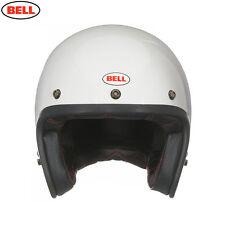 Bell Custom 500 Blanco Brillante Abierta Cara Casco De Motocicleta Con Bolsa Casco De Tela