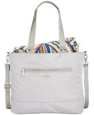 New KIPLING binx tote slate Grey shoulder bag removable pouch crossbody nylon