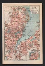 Landkarte city map 1927: KIEL. Altstadt. Deutschland.