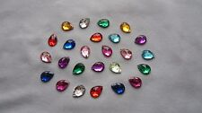 75 - PLASTIC RHINESTONE SEW-ON FLAT BACKS - TEARDROPS - ASSTD COLORS - NEW!!