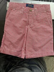 Polo Ralph Lauren Boy's Red And White Cotton Gingham Bermuda Shorts Size 5 NWOT