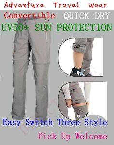 Ladies Convertible Zip Off Shorts Walking Hiking Camping Cargo Trousers Pant