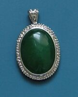 """GREEN ONYX 925 SILVER PLATED FIXED BALE PENDANT 1.75"""" GREEN THE COLOR OF MONEY!"""