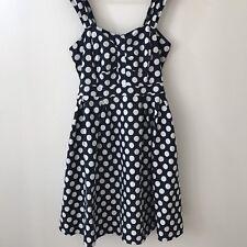 City Chic Polka Dot Dress Size 14 L Large (XS) Navy Blue Pink Up White