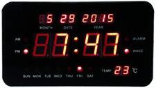 Sveglia Digitale Elettrica Orologio Luce Led con Data Giorno Temperatura 24x14cm