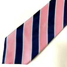 """Nautica Mens Necktie Tie Navy Blue Pink Striped 59"""""""