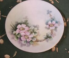 Antique Bavarian Hand Painted Porcelain Pink Climbing Roses Gold Rimmed Plate