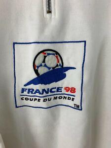 Men's FRANCE 1998 World Cup Soccer Long Sleeve 1/4 Zipper Sweater Size L White