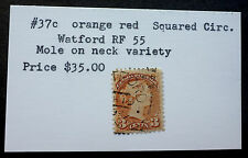"CANADA #37c  (WATERFORD RF 55 SQUARE CIRCLE) ""MOLE ON NECK"" VARIETY"