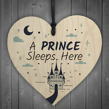 Prince Sleeps Here Plaque Boys Bedroom Accessory Blue Kids Wall Sign Quote Gifts
