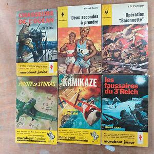 lot 7 livres romans MARABOUT JUNIOR - aventure , récit de guerre