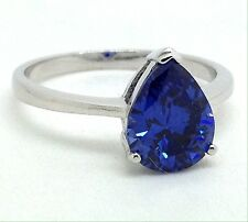 Siberian quartz tanzanite colour pear cut ring, UK size P 1/2, new, UK Seller.