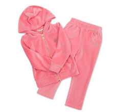 NEW Baby Girl Cotton Velour Pink Tracksuit Set Hoody Jacket Leggins 18-24 Months