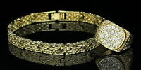 Mens 2pc Nugget Design 7mm Bracelet Icy Ring Set 14k Gold Plated Hip Hop Fashion