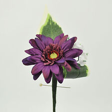 ARTIFICIAL SILK FLOWERS SINGLE GERBERA BUTTONHOLE AUBERGINE