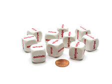 Pack of 10 20mm D6 Shapes Spanish Word Dice Series 2 - White with Red Words