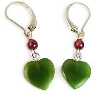 Green JADE bicone CRYSTAL drop earring SP LEVER BACK artisan