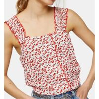 TopShop Womens Floral Frill Tank Top NWT Size 2 Red Ruffle Trim Cami Ivory Sweet