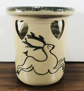 Handmade Bujno Pottery Crock 2000 Deer Reindeer Heart Cutouts Lancaster PA NICE
