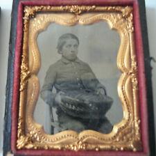 Antique Daguerrotype Ambrotype 1/9 Plate Teen Boy, Civil War Type Hat, Basket