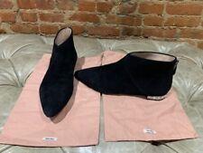 Authentic Miu Miu Black Suede Crystal-Heel Ankle Boot Size 40
