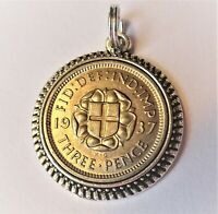 Genuine Silver Threepence Coin bracelet/necklace charm
