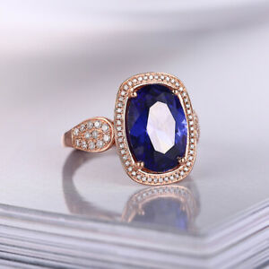 9.15CT Oval Artificial Sapphire Full Real Diamonds 18K Rose Gold Luxurious Ring