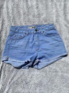 Topshop Moto - Size 10 - Light Denim High Waisted Jean Shorts Cotton