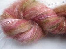 100gm Brushed Mohair Designer Hand-dyed Yarn Gorgeous Pink Green  Knitting 170m