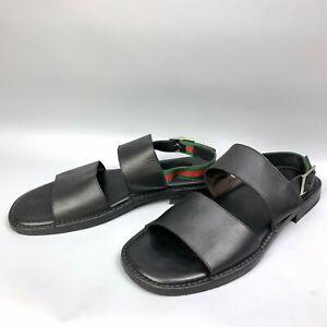 GUCCI Web Stripe Men's Sandals Size 45,5 E Black Leather Adjustable Ankle Strap