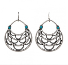 MONTANA SILVERSMITHS Layered Loop Turquoise Antique Earrings