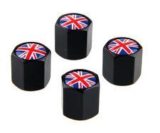 Union Jack Bandera Británica Negro Rueda Neumático Coche Válvula Casquillos de polvo x4 Mini BMX GB Reino Unido
