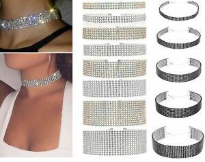 Women Full Crystal Glitter Rhinestone Choker Necklace Wedding Party Jewellery