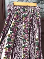 Vtg 80s 90s Long Floral Maxi Midi Skirt Turkish Cotton Cottagecore Burgundy M