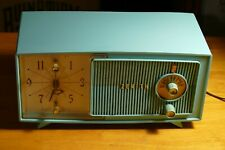 New ListingCool 1958 Turquoise Aqua Zenith Model E514 Clock Radio, Restored & Works Great!