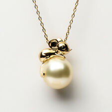 Vivid 12MM Cream South Sea Saltwater Pearl Mouse Pendant 14K Yellow Gold Diamond