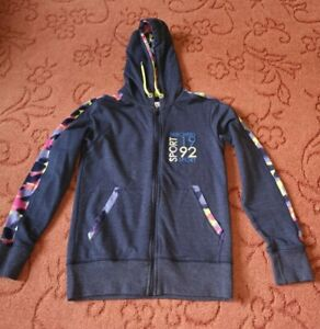 Skechers zipped hoodie blue with multicoloured sleeves Size uk 8