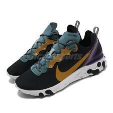 Nike React Element 55 PRM Black Teal Gold Purple Men Running Shoes CI9593-002