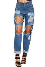 Jeans da donna blu alti alti