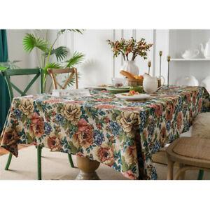 Floral Dining Tablecloth Retro Cotton Rectangle Table Cloth Cover Home Decor