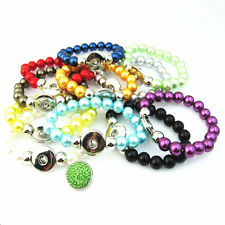 12pcs/lot Mix Colors Pearl Bracelet Fit 18mm Snaps Chunk Charms Button Jewelry