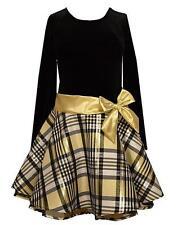 New Girls Bonnie Jean sz 16 Black Gold Bow Plaid Dress Holiday Christmas Clothes