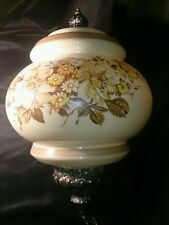Vintage Hand Painted Floral Glass GWTW Hurricane Parlor Hanging Lamp Chain Swag