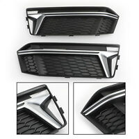 1Pair Fog Light Cover Grille Grill Chrome Bezel For AUDI S4 S-Line B9 2016-18 B4